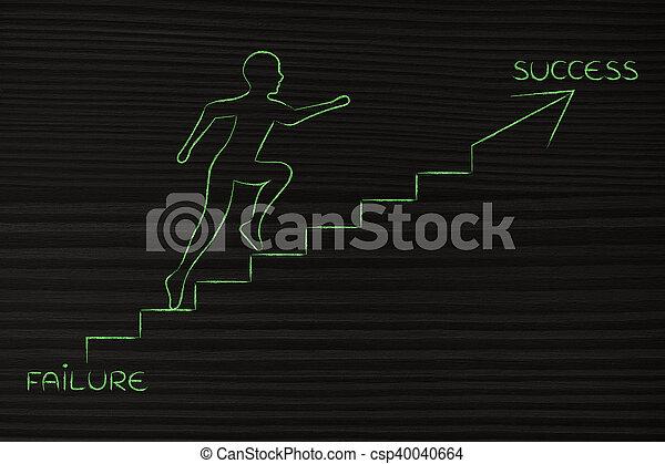 from failure to success, man climbing stairs metaphor - csp40040664