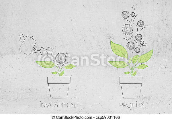 from initial investment to great profits plant with one coin on it and many more coming out of it - csp59031166