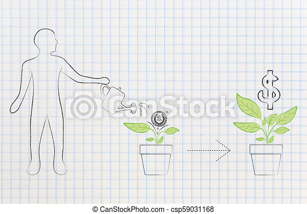 from initial investment to great profits man watering plant with one coin on it and many more coming out of it - csp59031168