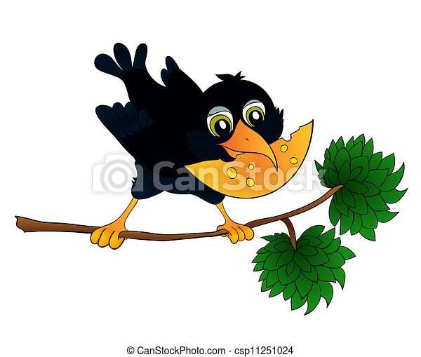 Fromage corbeau sien branche bec fromage fond - Coloriage corbeau ...