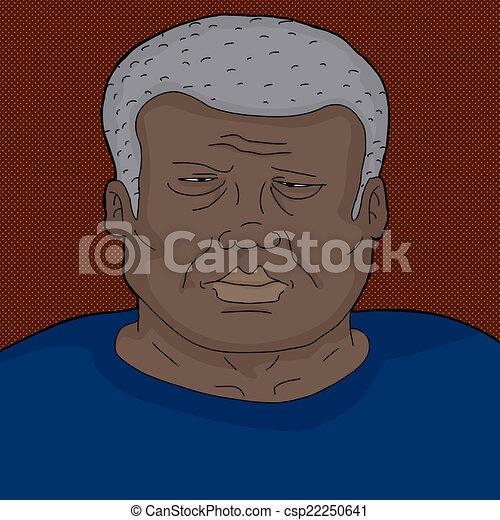 froncer sourcils, noir, homme mûr - csp22250641