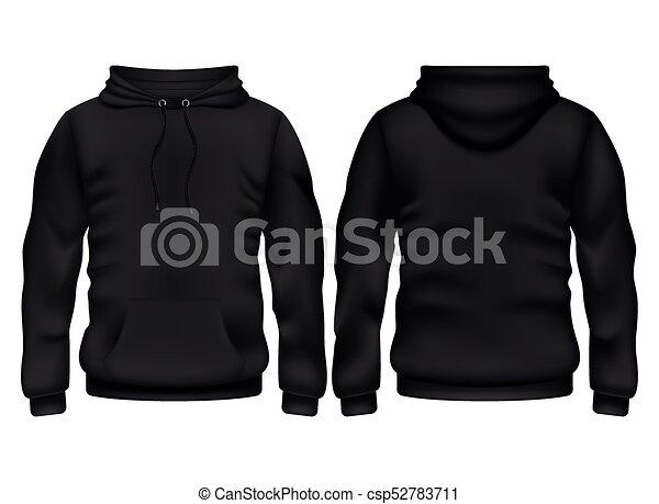 Front And Back Black Hoodie Vector Template. Sweatshirt  Vector