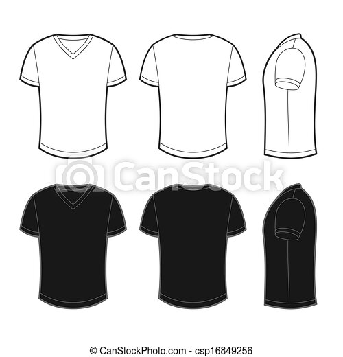 Front, back and side views of blank t-shirt - csp16849256