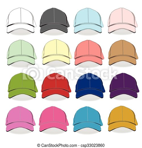 Front Baseball Cap Isolated Vector Template Set Black White And Color Uniform Fashion Blank Hat