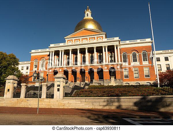 Front Bulfinch Entrance Massachusetts State House Capital Building Boston - csp63930811