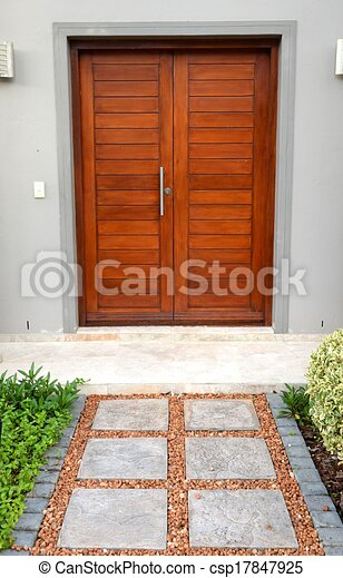 Front door. A conceptual shot of a front household wooden... clip ...