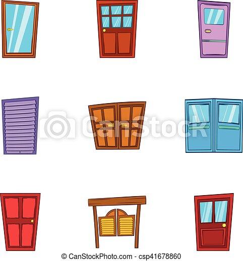 Front Door Icons Set Cartoon Style Front Door Icons Set Clip