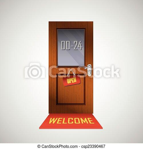 Front door is open around clock with a sign clip art vector