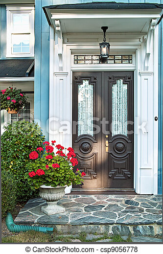 Front door of house - csp9056778