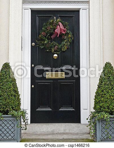 Front Door With Christmas Wreath Shiny Black Front Door With