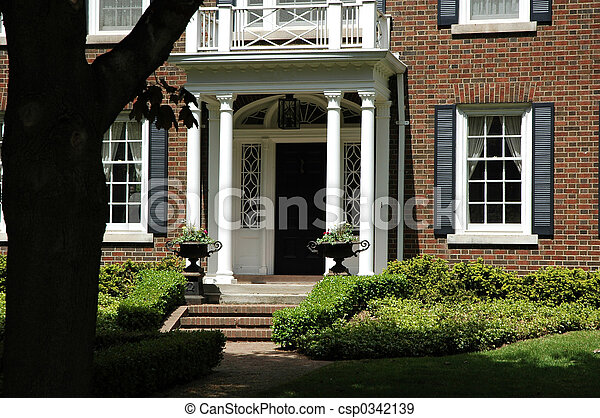 Front Entrance with Urns - csp0342139