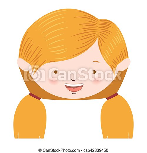 front face blond pigtails hair girl - csp42339458