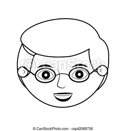 front face elderly man silhouette with glasses - csp42068736