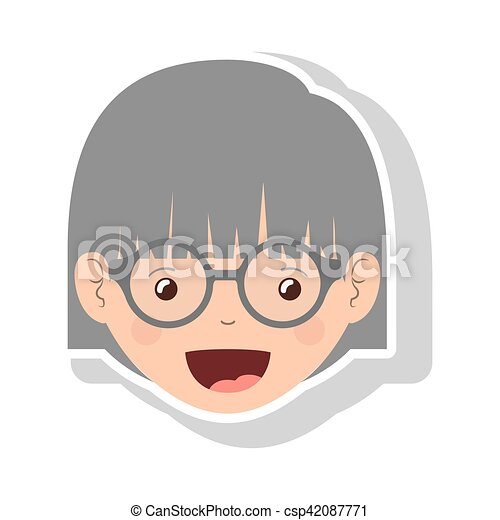 front face elderly woman with glasses - csp42087771