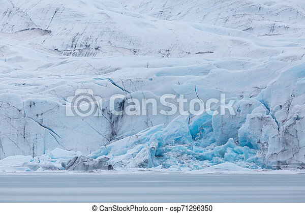 front of Vatnajokull glacier with crevasses - csp71296350
