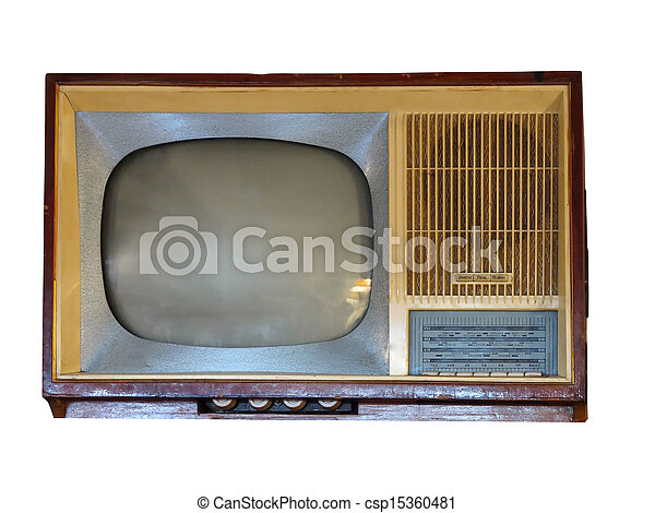 Front of vintage old television set over white - csp15360481