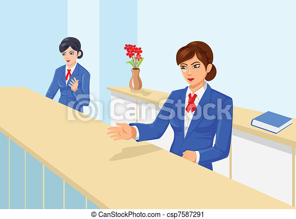 Line Art Uniform : Vector illustration of women in front office with uniform