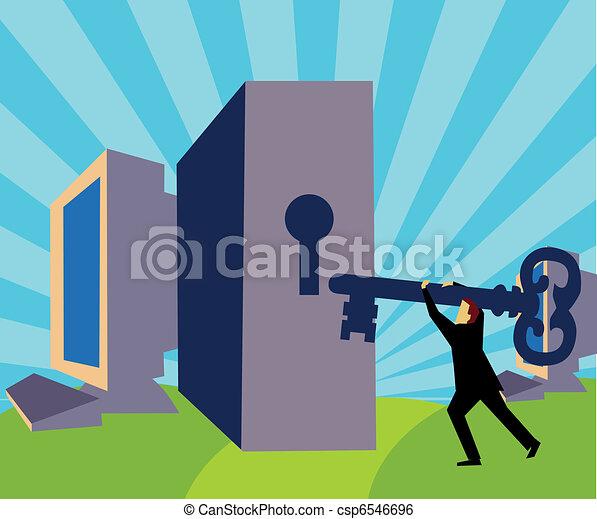 Ein Mann mit Schlüssel vor einem Schlüsselloch - csp6546696