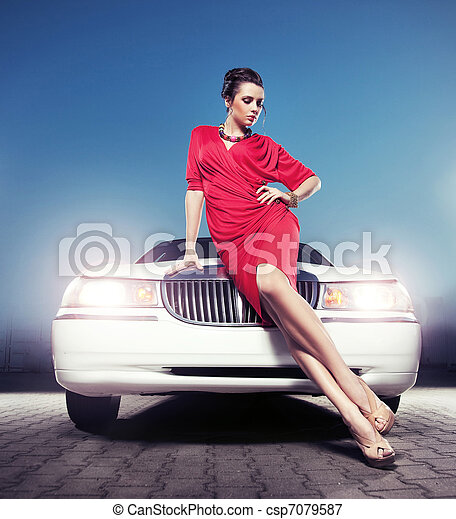 front, sexy, dame, limousine - csp7079587