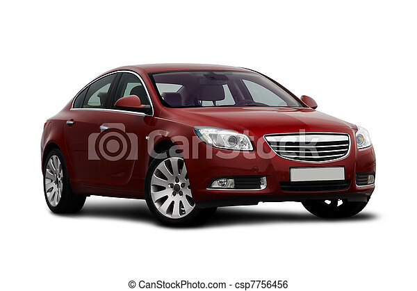 Front-side view of cherry red car - csp7756456