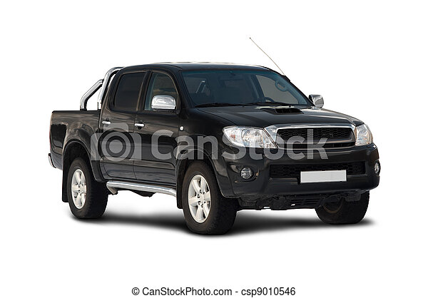 Front-side view of pick-up truck - csp9010546