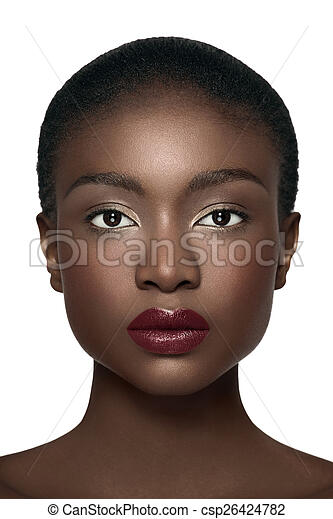 front view face direct front view of an african american model