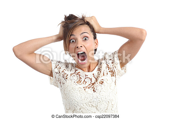 Front view of a scared woman screaming with hands on head - csp22097384