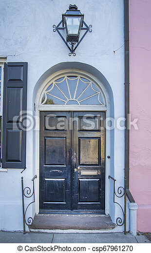 front view of ancient house in Charleston city - csp67961270