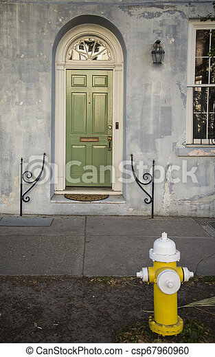 front view of ancient house in Charleston city - csp67960960