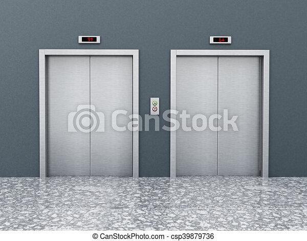 & Front view of elevator doors on the corridor. 3d illustration.