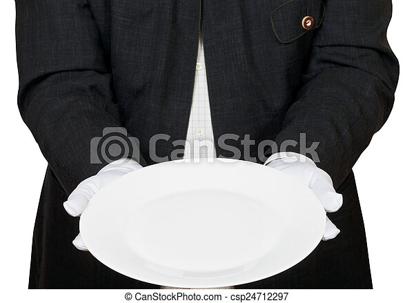 front view of empty white plate in hands in gloves - csp24712297