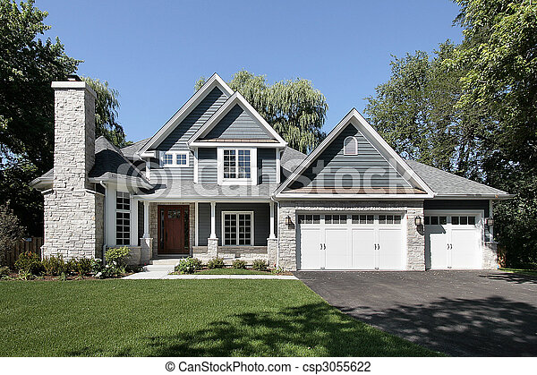 Front view of luxury home - csp3055622