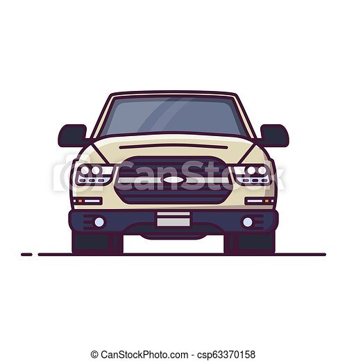 Front View Of Offroad Car Front View Of Suv Line Style Vector