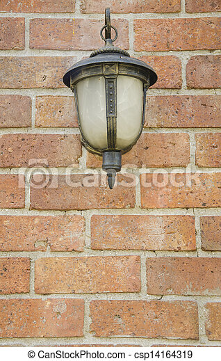 Front view of Old Lamp on Wall - csp14164319
