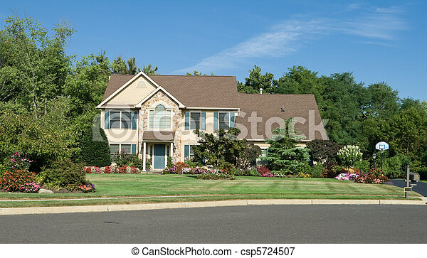 Front view of single famly home in suburban Philadelphia, Pennsylvania, USA.  Nicely landscaped. - csp5724507