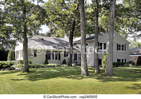 Front view of suburban home - csp2465605