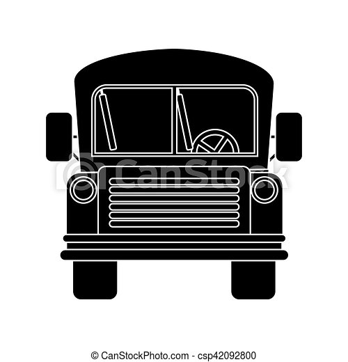 Front view school bus with wheels vector illustration.