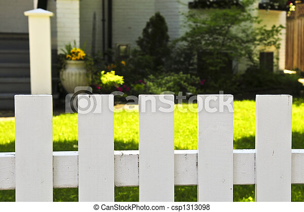 Front yard with white fence - csp1313098