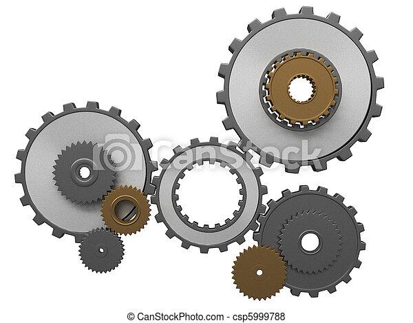 frontal, vue, composition, engrenages - csp5999788