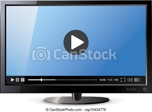 frontal, widescreen, monitor, vista - csp15434776
