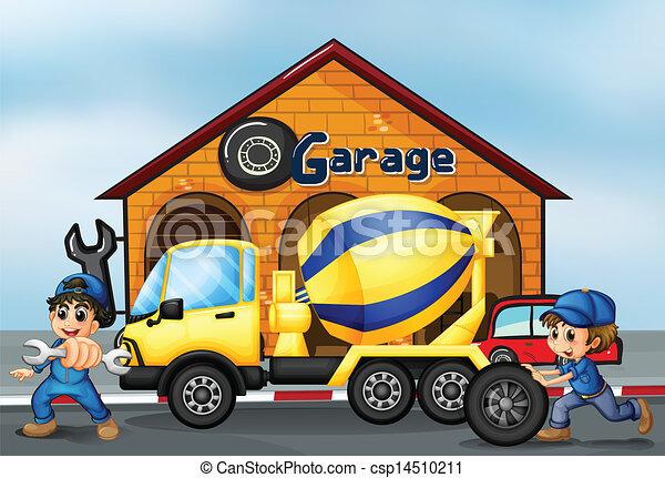 fronte, garage, camion, cemento - csp14510211