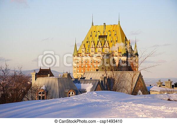 frontenac, 城, ランドマーク, ケベック 都市 - csp1493410