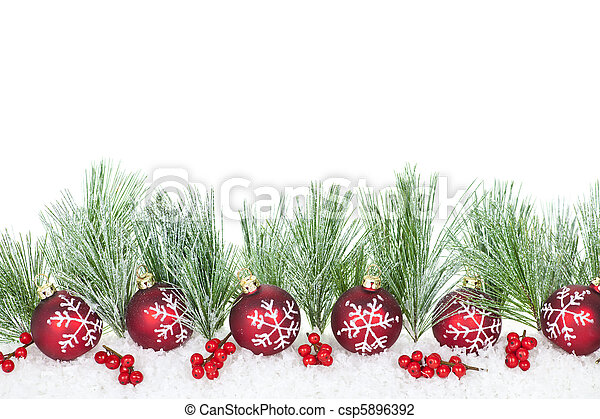 La frontera de Navidad con adornos rojos - csp5896392