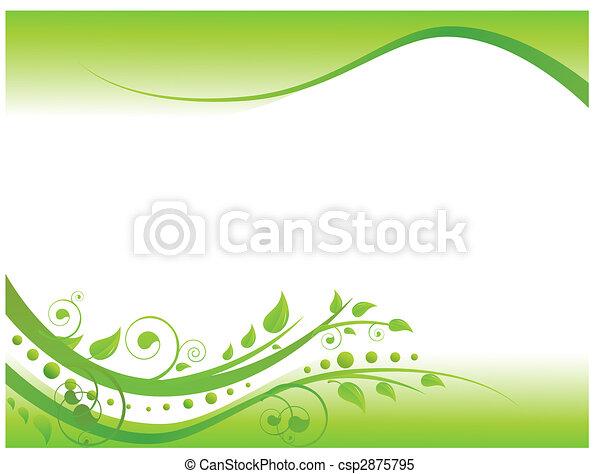 frontière florale, vert, illustration - csp2875795