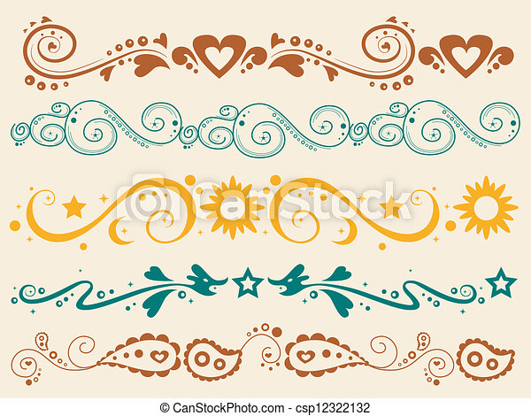 frontière, silhouette, bannière, coloré - csp12322132