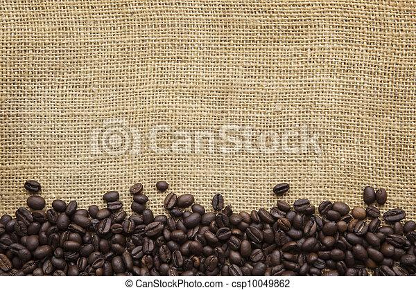 frontière, sur, grains café, burlap - csp10049862