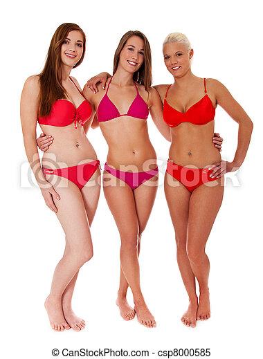 Was and Three women in bikini swimwear