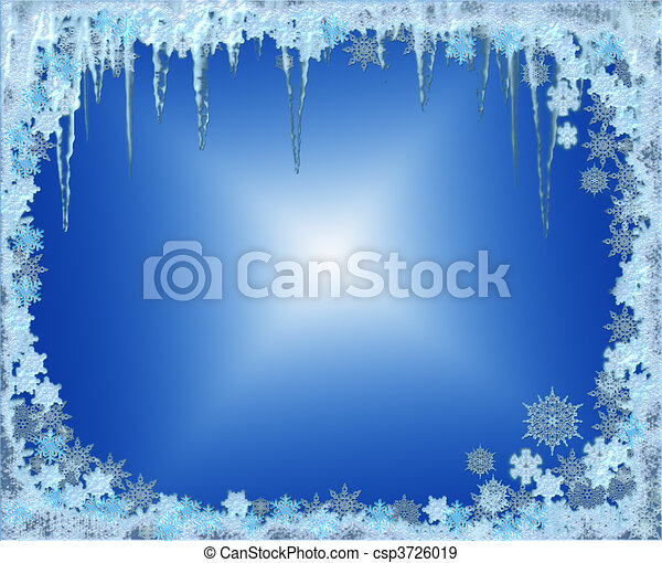 Frosty Christmas frame with snowflakes and icicles - csp3726019