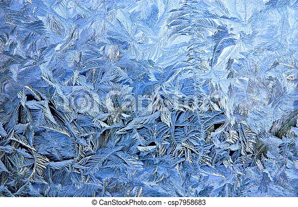 Frosty pattern on window glass surface - csp7958683