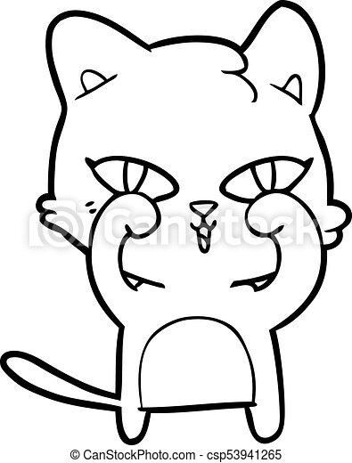 frottement, chat, yeux, dessin animé - csp53941265